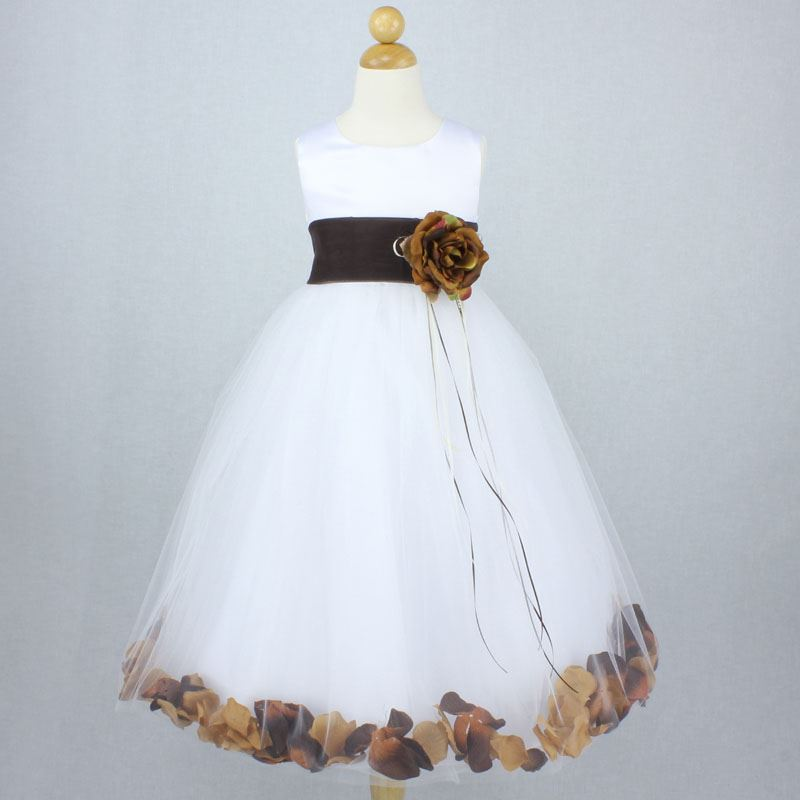 WHITE CHAMPAGNE PEACH Flower Girl Dress Petals Dance Birthday Formal Gown Party