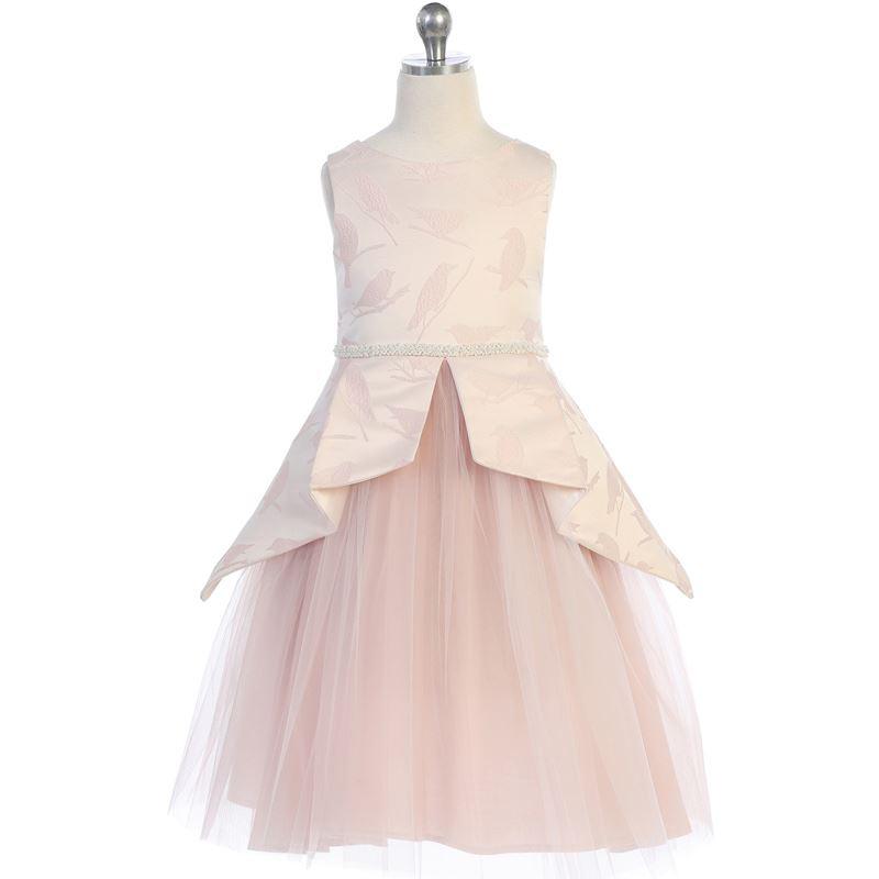 PEACH Flower Girl Dress Graduation Bridesmaid Formal Recital Gown Dance Wedding