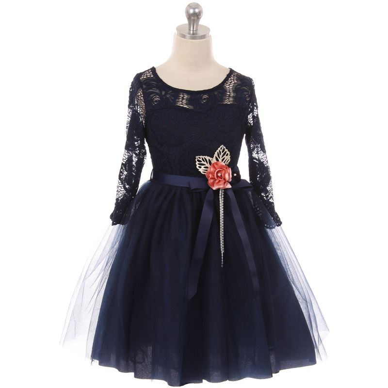 NAVY BLUE Flower Girl Dress Graduation Dance Party Wedding Birthday Pageant Prom