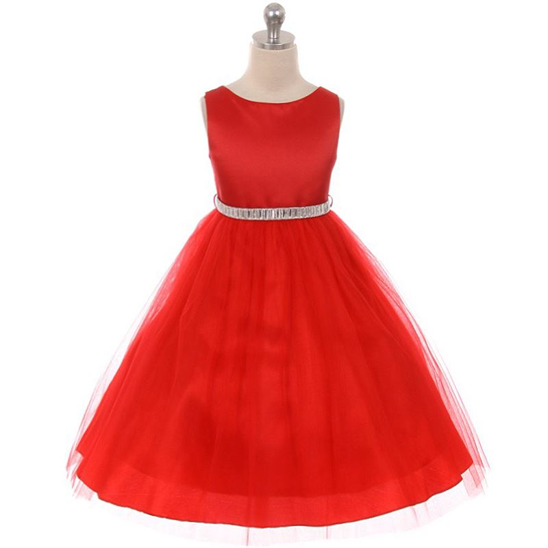 RED Flower Girl Dress Princess Pageant Birthday Prom Formal Bridesmaid Gown Prom